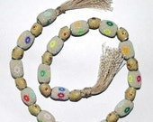 "supplies,Beads - 16"" string ( 30 Pcs) Handmade beautiful Pandora style bollywood native Indian lac beads in Beige color."