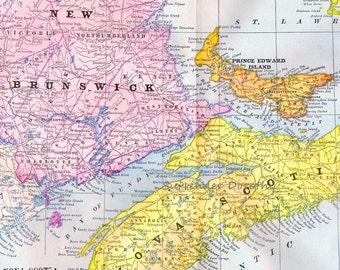 New Brunswick & Nova Scotia Canada Map Antique Copper Engraving North American Cartography 1892 Vintage Victorian Geography