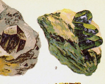 Augite Diopside Enstatite Hypersthene Wollastonite Crystal Stone Mineral Vintage Lithograph Edwardian Geology Print To Frame 27