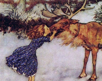 Gerda and the Reindeer Wind's Tale Edmund Dulac Hans Andersen Vintage Children's Fairytale Nursery Lithograph Print To Frame