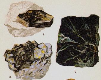 Muscovite Biotite Zinnwaldite Clinochlore Lepidolite Crystal Stone Mineral Vintage Lithograph Edwardian Geology Print To Frame 34