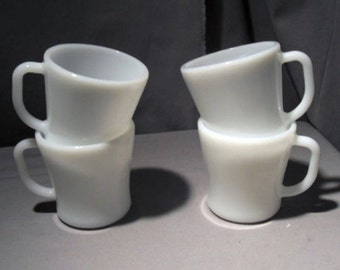 Federal Glass Restaurant Mugs Milk Glass D Handle Vintage 1960s Coffee Cup Set Of Four For Your Mid Century Kitchen USA