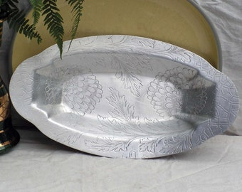 Vintage Hammered Aluminum Serving Tray Chrysanthemum Pattern Classic USA Mid Century 1950s Serving Dining