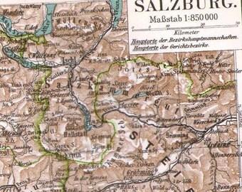 Salzburg Austria Map Vintage 1906 Antique Steel Engraving Cartography European City Art To Frame