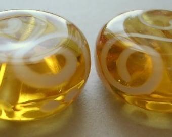 Lampwork Beads Amber Handmade Glass pale Amber Lozenges Lozenges (2)