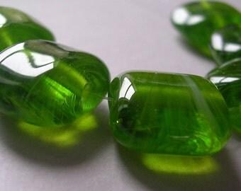 Lampwork Beads Green Handmade Glass Ericabeads Spring Hosta Squeezes (6)