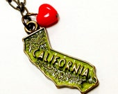 California Love Charm Necklace -  Brass Retro Heart Red Green State Pride