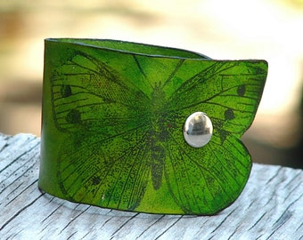 Women's Butterfly Leather Wristband Cuff - Green