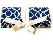 Blue and ivory Envelope Clutch in lattice. THE ALEXIS Clutch.