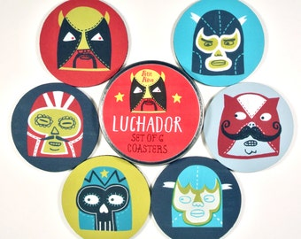 Luchador Wrestlers coaster set Lucha Libre Wrestling Mexican mask Mexican Wrestler colorful FUNNY coasters Gifts Under 20 gifts for guys