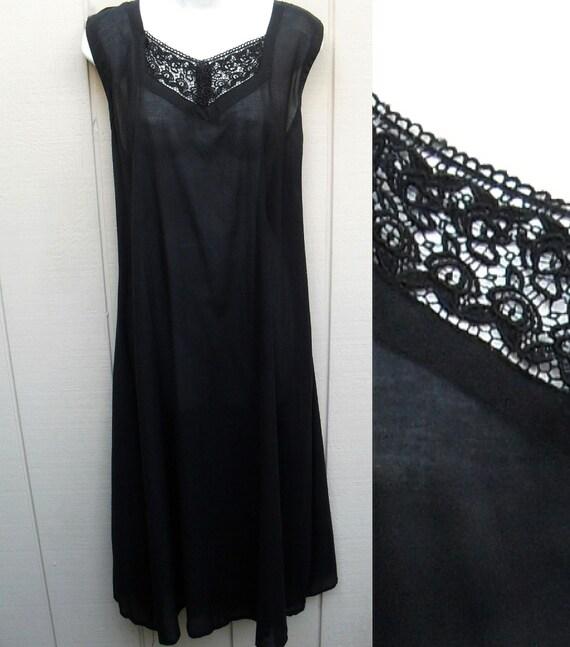 Vintage 80s 90s Black sheer midi sleeveless slip dress or nightie size Lge