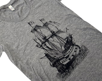 Pirate Ship T-Shirt - Nautical Boat American Apparel ladies Tri-blend shirt - (Available in sizes S, M, L, XL)