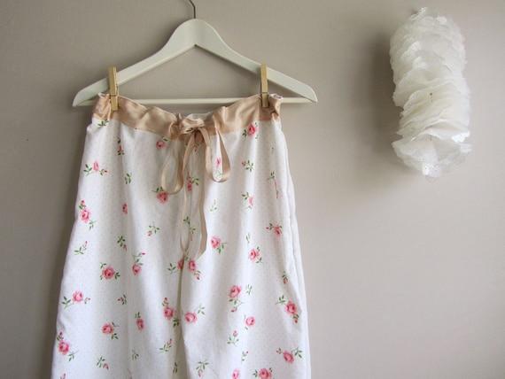 Sweetheart Rose Vintage fabric pajama bottoms