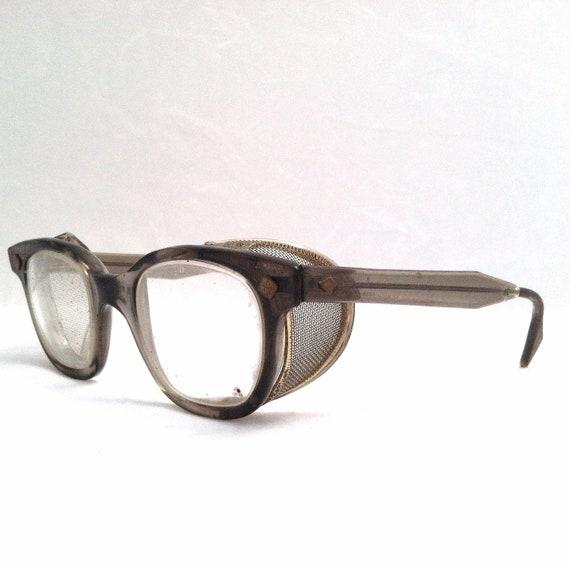 STEAMPUNK SAFETY GLASSES / Vintage Horn Rimmed Industrial Chic Eyeglasses