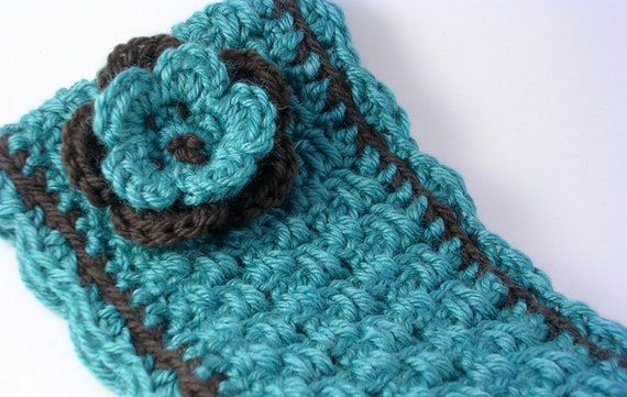 Woven Look Crocheted Ear Warmer with Removable Flower Pin