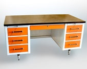 Vintage Mid Century Walnut Alma Administrator Double Pedestal Desk in Orange White and Brushed Steel