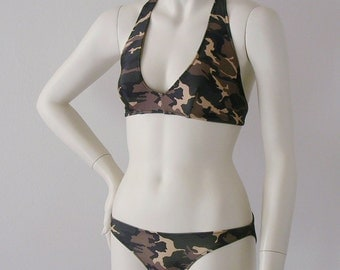 Camouflage Halter Bikini Made To Order in S-M-L-XL