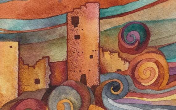 Pueblo Original Watercolor by Megan Noel