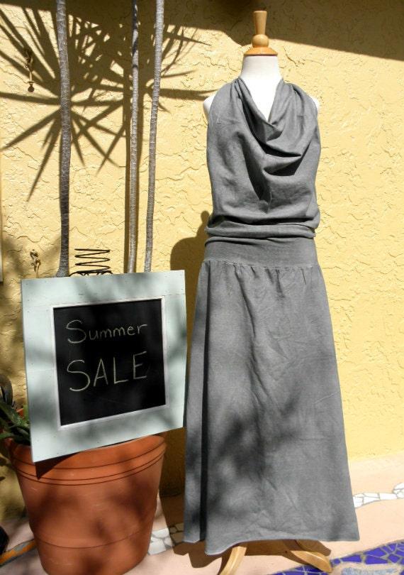 White Tara Halter Dress. Organic cotton hemp. Summer sale. Ready to ship.