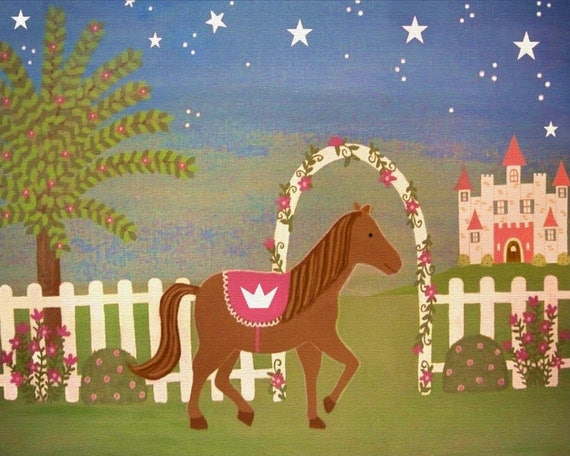 Childrens Decor Kids Wall Art - Horse Princess Castle - Girls Room Kids Art Prints by TwoLittleWitches