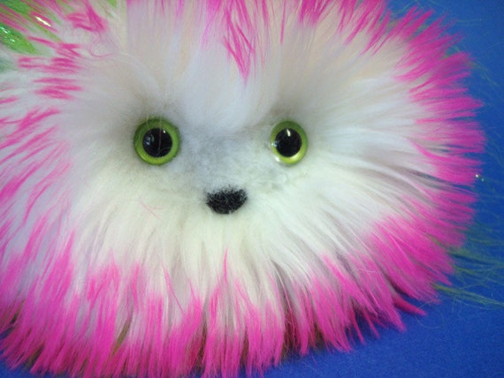 Floople -- Weird Plush -- Hot Pink, White, and Lime Green -- Stuffed Monster
