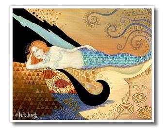 B. K . Lusk Mermaid Print Art Nouveau Abstract Goddess Icon Sea Seascape Ocean Siren