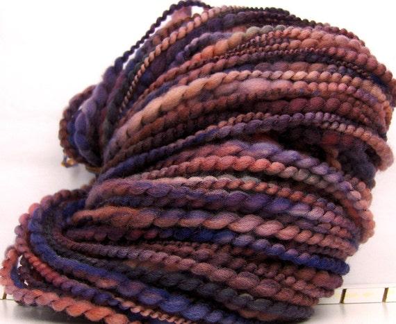 HandSpun Yarn bulky yarn thread ply Mahogany Blues 60 yards 2 ounces
