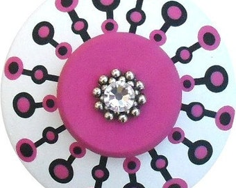 Black White Hot Pink Dots Swarovski Crystal Jeweled Dresser Furniture Cabinet Kids Nursery Chldrens Room Hand Painted Wood Drawer Pull Knobs