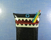 Black Glitter Vinyl Monster Pouch - One Eye