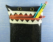 Black Glitter Vinyl Monster Pouch