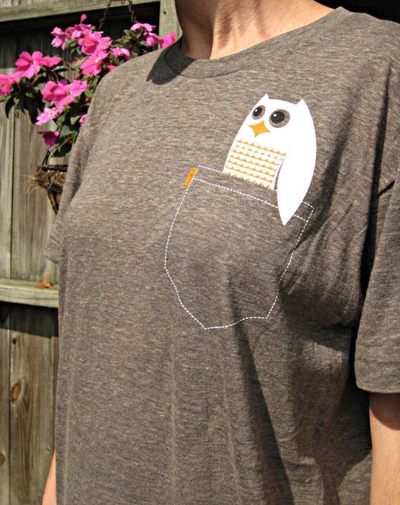 Owl Tshirt Super Soft Pocket P'Owl Adult Tee Unisex XL