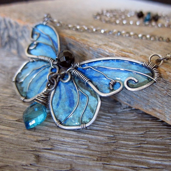 RESERVED for JM - Blue Morpho Butterfly Necklace - Wire Wrapped Sterling Silver with Hand Painted Wings, Onyx and Aqua Quartz