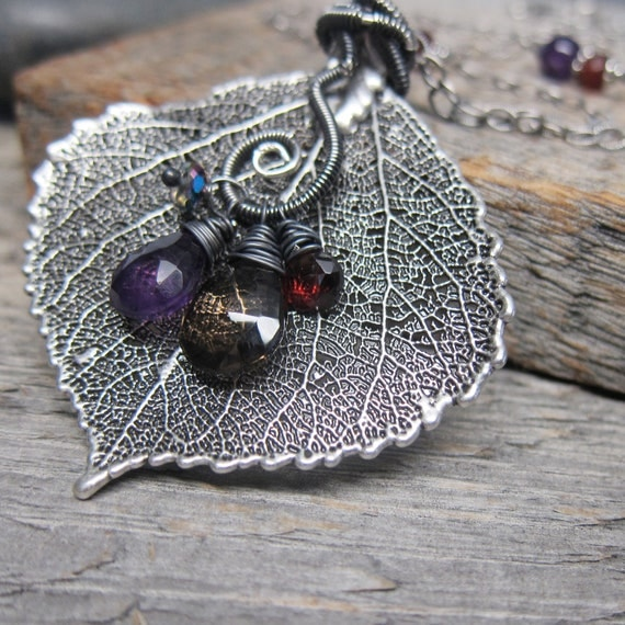 RESERVED for Angela - Autumn Rustlings I Necklace ... Real Leaf Pendant with Wire Wrapped Vine and Gemstones