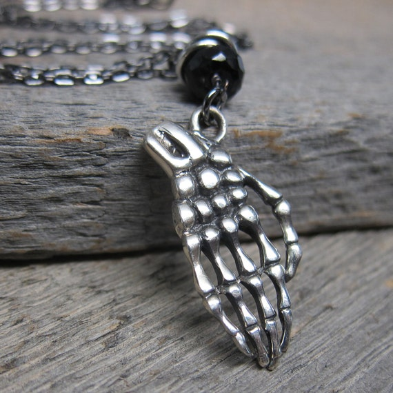Dead Mans Hand Necklace ... Sterling Silver Skeleton Hand with Onyx and Gunmetal