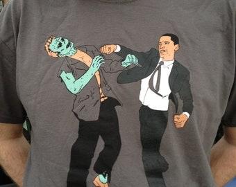 XL Obama Vs. Zombies Four Color Unisex Shirt Charcoal