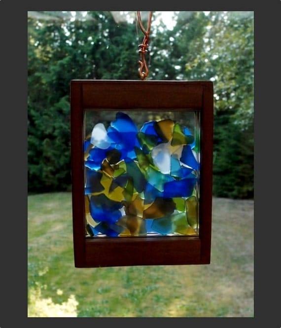 Suncatcher Window Hanging Beach Glass Stained Glass Sea Glass Sun Catcher