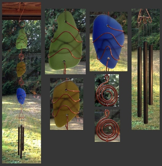 Wind Chime, Stained Glass, Sea Glass, Beach Glass, Copper, Windchimes, Wind Chimes, Suncatcher