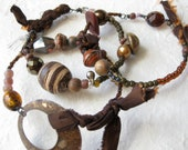 gypsy bangle stack - tribal assemblage - bronze brown - salvage - african beads - silk textile - rustic -vintage antique