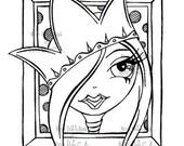 INSTANT DOWNLOAD Digital Digi Stamps Big Eye doll head ~ Be your own Princess (digital stamp)