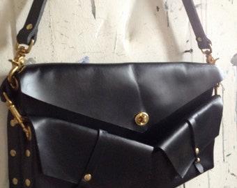 all black split messenger and holster bag