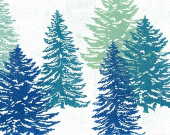 "Linocut Print - WINTER FIRS -  Winter Wonderland Print 13""x19"" - Ready to Ship"