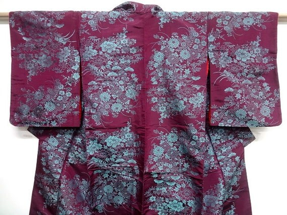 Reserved for MSCynthia -Japanese silk kimono - Vintage silk -Purple and turquoise