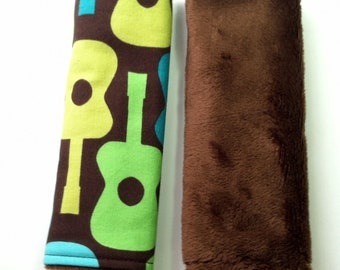 Car Seat Strap Covers - Reversible - Groovy Guitars - Smooth Brown Minky