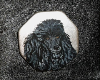 Black Poodle Dog Hand Painted Ceramic Pin Brooch