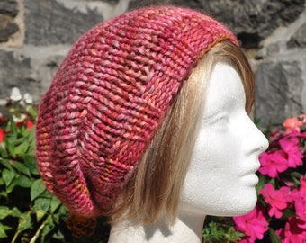 Pink Knit Hat - Wool Ribbed Knit Slouchy Hat - Woman or Teen Hat in Baby Alpaca