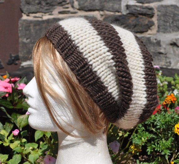 Brown and Off-White Striped Knit Hat - Wool Ribbed Knit Slouchy Hat - Unisex