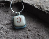 Wink. Wink.  Fused Glass Emoticon Necklace.