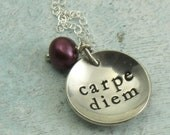 Carpe Diem and pearl - sterling silver necklace by Kathryn Riechert