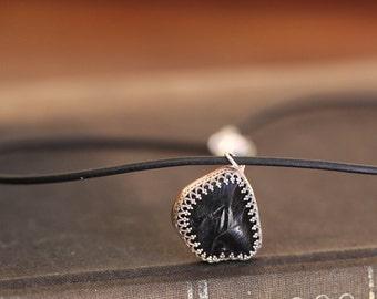 Pele pendant, obsidian shard, handmade pendant necklace on leather cord