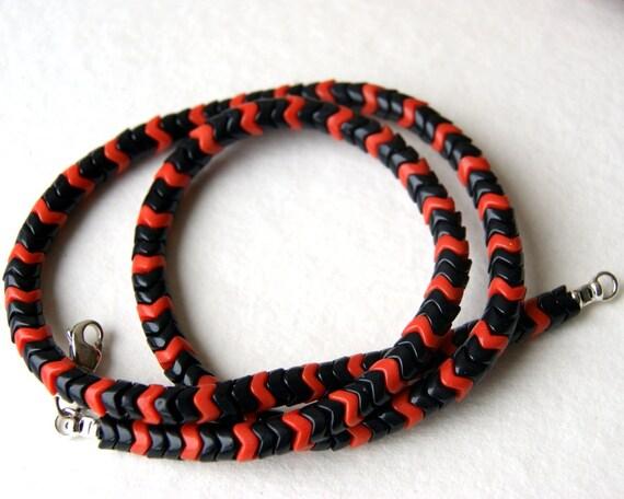 Black and Orange Snake Bead Necklace - vintage trade beads - boho fashion, men. unisex, autumn, fall